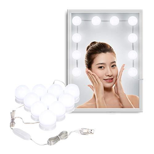 Galapara Luces de Espejo de Tocador Espejo de Maquillaje LED Kit con 10 Piezas Bombillas Brillo y USB Puerto con,Memoria,5 Niveles Brightness Adjustable