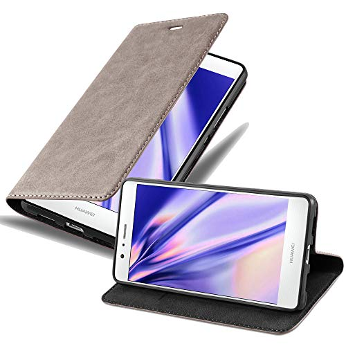 Cadorabo Hülle für Huawei P9 LITE - Hülle in Kaffee BRAUN – Handyhülle mit Magnetverschluss, Standfunktion und Kartenfach - Case Cover Schutzhülle Etui Tasche Book Klapp Style