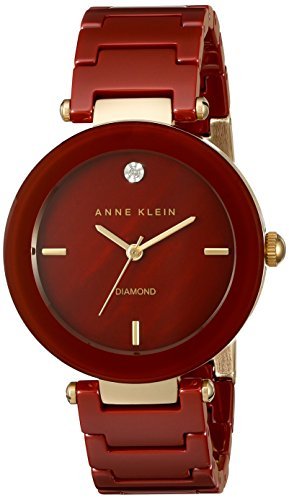 Anne Klein Women's AK/1018BYGB Diamond-Accented Dial Burgundy Ceramic Bracelet Watch