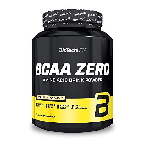 BioTechUSA BCAA Zero Sugar-Free Flavoured Amino Acid Drink Powder, with L-leucine, L-isoleucine and Vitamin B6, 700 g, Peach Ice Tea