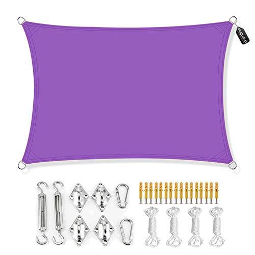 BAJIAN-LI Toldo rectangular, con protección UV, impermeable, con kit de fijación, para jardín, piscina, terraza, 3,6 x 3,6 m