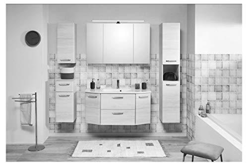Pelipal - Amora 16 - Badmöbel -112 cm- 6-teilig mit Spiegelschrank, Mineralmarmor-Waschtisch gerundet/abgeschägt usw. in Eiche weiß quer NB, EEK: A (Spektrum A - A)