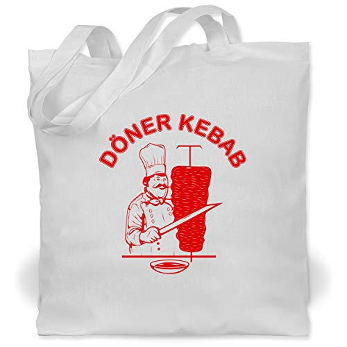 Shirtracer Statement - Original Döner Kebab Logo - Unisize - Weiß - döner kebap tasche - WM101 - Stoffbeutel aus Baumwolle Jutebeutel lange Henkel