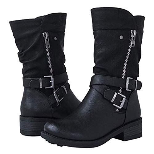 Haomigol Boots for Women Retro Leather Zip Low Heel Mid-Calf Boots Women Flat Boots Western Boot Cowgirl Bootie Ankle Boots Black