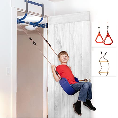 Gym1 - Deluxe Indoor Doorway Gym for Kids Playground Set - All in One Gym Set - Four Ways of Fun: Blue Indoor Swing, Plastic Rings, Climbing Ladder, and Pull Up Bar