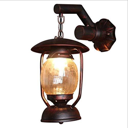 TQQ Lámpara de Pared Interior Lámparas de pared de hierro de pared de luz, luz industrial de cristal de la vendimia de iluminación decorativa de la pared moderna lámpara colgante antiguo patio ala del