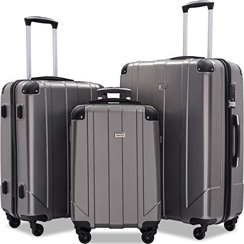 Merax Luggage Sets with TSA Locks, 3 Piece Lightweight P.E.T Luggage 20inch 24inch 28inch (Gray)