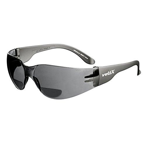 voltX 'Grafter' BIFOKALE (RAUCHGRAU +2.5 Dioptrie) Leichtgewichts Industrie Lesen Schutzbrille, CE EN166F Zertifiziert + Anti Fog UV400 Linse/Sportbrille für Radler – Safety Reading Glasses