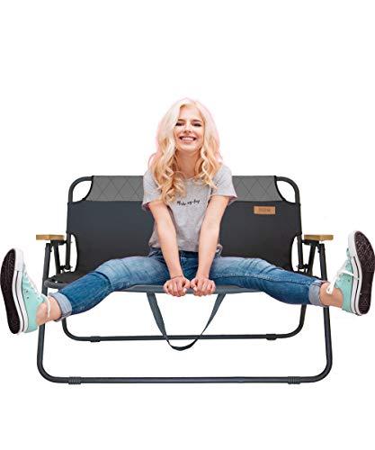 hdg Klappbank Campingbank Gartenbank James tragbar klappbar 2 Sitzer Campingstuhl