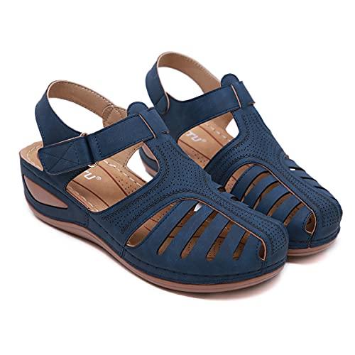 KLGH Sandalias Mujer Verano Cuña, Antideslizante y Resistente al Desgaste, PU Artificial Sandalias Cerradas con Diseño de Velcro, Cómodos Casual Zapatos de Playa Huecaroyal blue-37