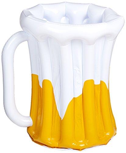 Beistle 57892 Aufblasbarer Bierkrugkühler, 45,7 x 68,6 cm, Weiß/Gold