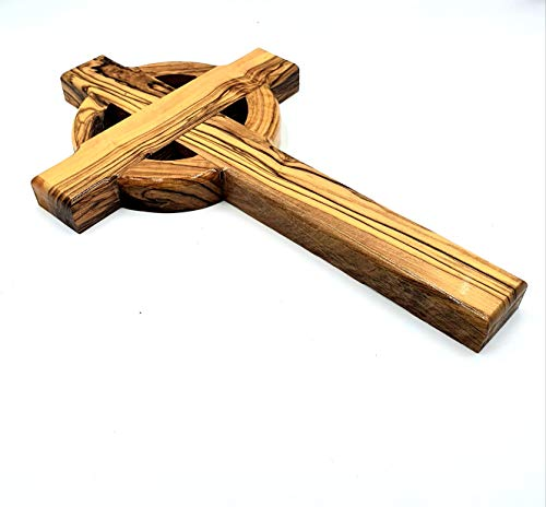 Zuluf Large Wall Hanging Bethlehem Olive Wood Celtic Cross Handcrafted in The Holyland & Authenticity Certificate | Wooden Gaelic Olive Wood Wall Hanging Jerusalem Cross | 25cm / 9.8 Inches CRS029