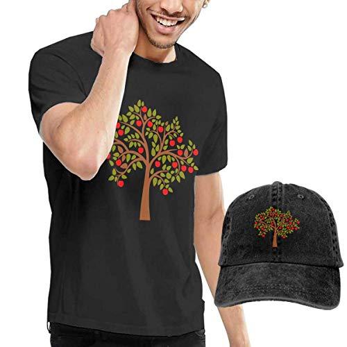 Quitelike Custom Cartoon-Apple-Fruit-Tree Short Sleeve tee Black tee Camisetas de Hombre con Gorra de béisbol For Men
