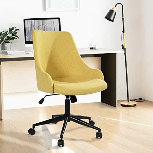 Silla de ordenador HOMYCASA moderna tapizada ajustable altura giratoria silla de escritorio apoyabrazos para oficina en el hogar (amarillo)