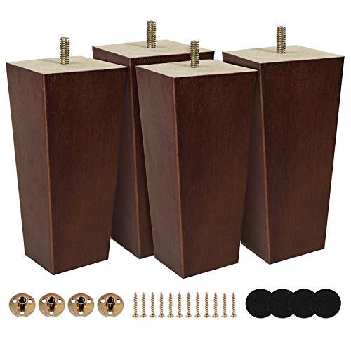 Kculehtlla 6 inch Furniture Legs Rubber Wood Made Modern Pyramid Couch Leg for Sofa Pack of 4