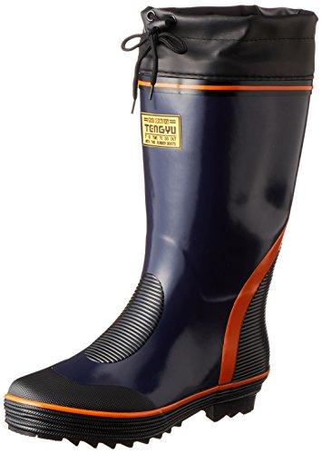 [フジテブクロ] 長靴 作業靴 筒太 レインブーツ カバー付 999 メンズ NAVY 25.0cm