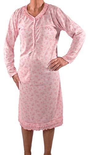 Seniorenmode24 Damen Senioren Oma Nachthemd mit Blumenmuster kuschelig weich aus Baumwolle ideal für pflegebedürftige Omas einfach anzuziehen und super pflegeleicht (rosa, 50/52)