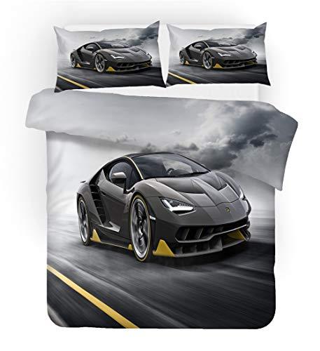 Juego de ropa de cama con estampado 3D de coches de carreras, funda nórdica de 260 x 220 cm y funda de almohada de 50 x 75 cm, microfibra
