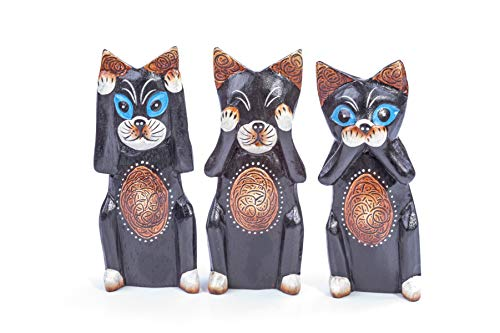 Set of Three Hand Carved Wooden Cats - Fair Trade - Hear No Evil See No Evil Speak No Evil - Unique Gift - Home Decoration - Ornament - Sculpture - Housewarming Gift