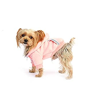 Dog Hoodie Fleece Sweatshirt for Small Medium Large Extra Small XL Dogs Charcoal Gray Pink Red Purple with Harness Hole and Reflective Stripe Zipper Pullover Dogs Hooded Warm Jacket (XS, Pink)