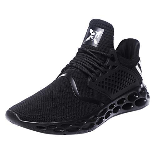 AIni Herren Schuhe,2019 Neuer Heißer Mode Beiläufiges Atmungsaktiver Schnürschuh Sport Athletic Walking Running Shoes Sneakers Partyschuhe Freizeitschuhe(41,Schwarz)
