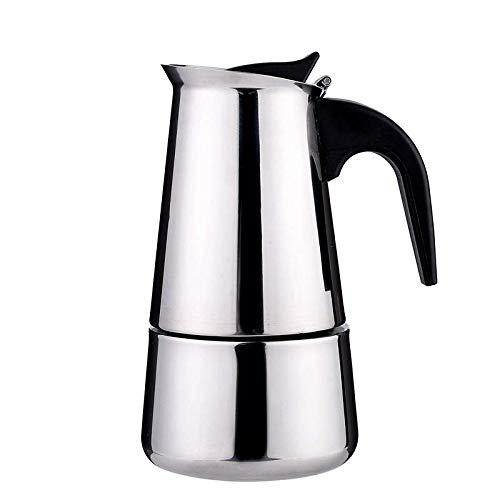 MiXXAR Espressokocher Edelstahl Kaffeekocher Mokkakanne Aus 430 Edelstahl Kaffeekocher Mit Italienischem Sicherheitsventil Für Elektro, Keramik Und Gasherde Geeignet (100ml/200ml/300ml/450ml)