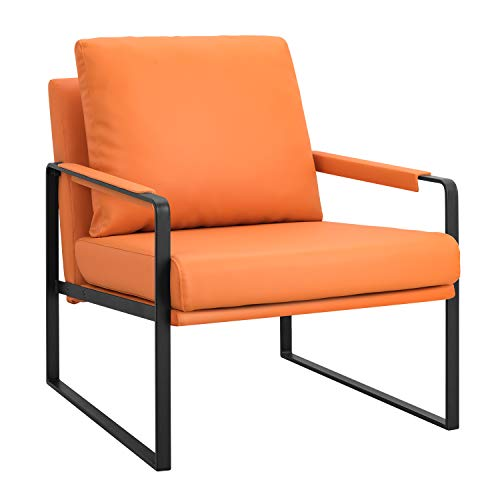 Modern Accent Chair with Arm Single Sofa Comfy Upholstered Armchair for Living Room Bedroom Furniture (Orange)