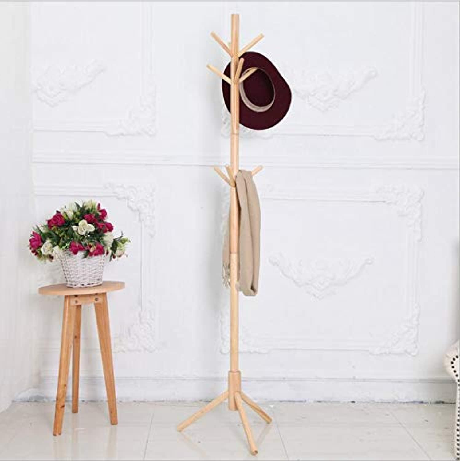 Wooden Coat Stand Tree Twig Hat and Coat Rack for Entryway Hallway Bedroom Closet Wardrobe 9 Hooks 175CM Natural Solid Wood,Natural