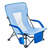 #WEJOY Low Concert Beach Folding Chair with Cup Holder Pocket Slubbed Fabric Mesh Back for Lawn Camping Picnic Festival Outdoor Sports