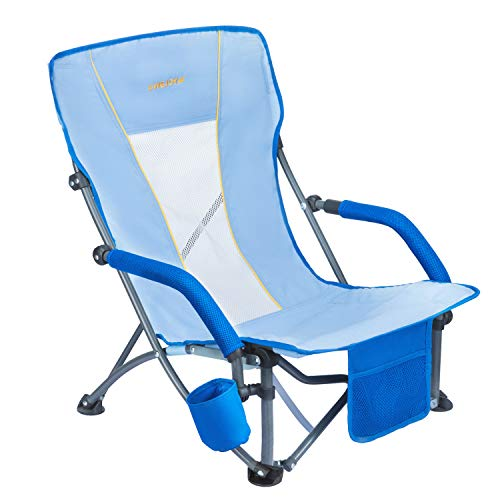 #WEJOY Low Folding Beach Chair with Cup Holder Pocket Slubbed Fabric Mesh Back, Compact Low Sitting Profile Seat Short Collapsible Concert Lawn Chairs for Adults