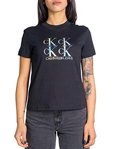 Calvin Klein Jeans Damen Shine Logo Tee Spreizkragen, Ck Schwarz, X-Large