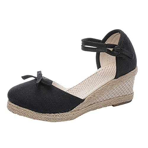 womens solsoft platform wedges sandals high heels and pumps handmade linen buckle slope platform sandals pumps shoes women low heel fire and safety shoes simple beautiful breathable summer(Black,7.5)
