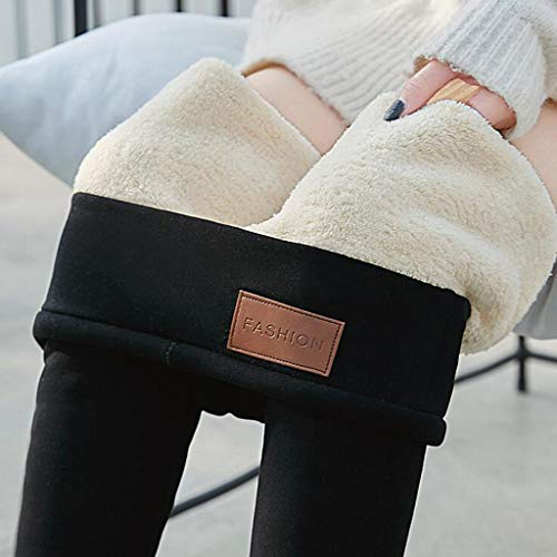 Super Thick Cashmere Leggings for Women- Premium Women's Fleece Lined Legging,Ladies Winter Wool Plush Warm High Waist Elastic Yoga Slim Pants,Womens Ultra Soft Holiday Leggings Pants (A/Black, S)