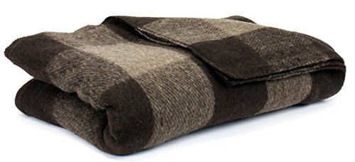 Bunkhouse Plaid Wool Blankets #NW-WBASBHP 80 x 62 Inches Twin Size - Machine Washable Brown/Tan Fawn