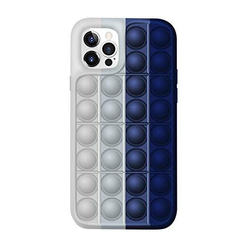 Adecuado para iPhone 7/8/7 Plus / 8 Plus/SE 2020/6, funda protectora de juguete para apretar sensorial con burbujas de botón, funda de silicona para teléfono de juguete Fidget a prueba de golpes