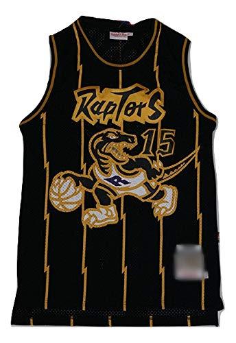 WOLFIRE WF Camiseta de Baloncesto para Hombre, NBA,Toronto Raptors #15 Vince Carter #1 Tracy McGrady Bordado, Transpirable y Resistente al Desgaste Camiseta para Fan Hardwood Classics (C Golden, S)