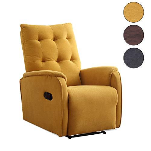 Adec - Swing, Sillón Relax automático, tapizado en Tejido Color Mostaza, butaca Descanso, Medidas: 70 cm (Ancho) x 80 cm (Fondo) 93 cm (Alto)