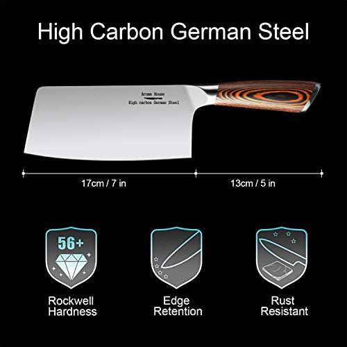 Macheta Cocina, Cuchillo de carnicero, Cuchillo asiático hecho del acero inoxidable carbonatado alemán alto, cuchillo de cocina chino de los 18cm para el uso de fines múltiples, Hachas de Cocina