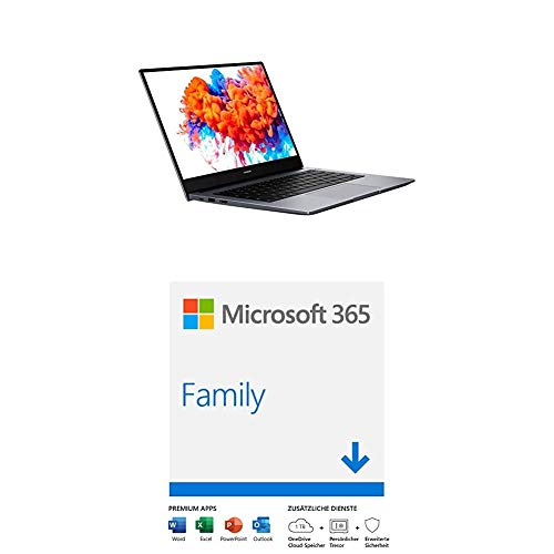 HONOR MagicBook 14 Laptop, 35,56cm (14 Zoll), Full HD IPS, 256 GB PCIe SSD, 8 GB RAM, AMD Ryzen 5 3500U - Mystic Silver + Microsoft 365 Family | 6 Nutzer | Mehrere PCs/Macs, 1 Jahresabonnement