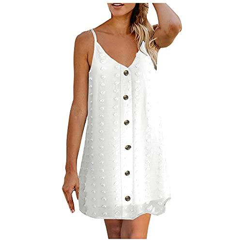 Fashion Women's Casual V-Neck Halter Jacquards Button Knee Length Dress White