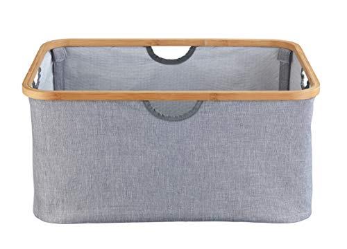 WENKO Cesta de ropa Bahari, contenedor para la ropa sucia, plegable para ahorrar espacio Capacidad: 50 l, Bambú, 54 x 36 x 26 cm, Marrón