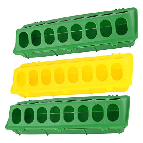 Hemoton 3pcs Poultry Feeder Plastic Feeding Tray with Holes Heavy Duty Food Dispenser Container Base for Farm Chicken Quail Pigeon (Random Color)
