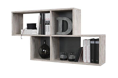 FMD furniture 270-001E, Wandregal in Ausführung Sandeiche Nachbildung/Anthrazit, Maße ca. 100 x 53 x 19,5 cm (BHT), Melaminharz beschichtete Spanplatte