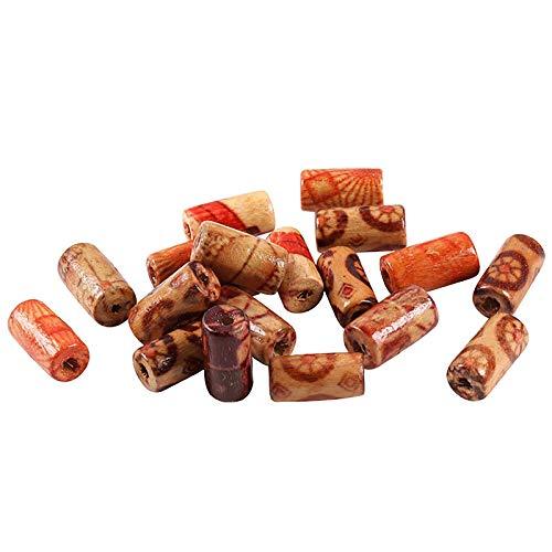 100 PCS Natural pintado con cuentas de madera para la fabricación de joyas, cabello DIY Macrame Suministros de cuentas, joyas artesanales para pulseras y collar, gran y pequeño barril redondo tubular