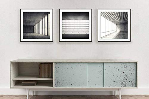 Amazon Com Modern Contemporary Wall Art Set Of 3 Photo Print Living Room Decor Ideas Minimalist Print Set Black And White Architectural Wall Decor Handmade