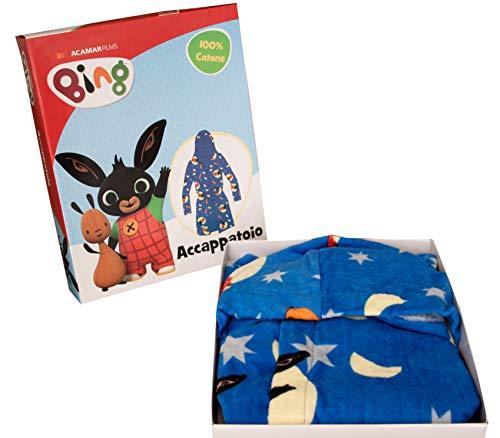 Accappatoio con cappuccio Originale BING BUNNY anni 2 3 4 5 100% Spugna di puro cotone Bimbo Bimba Bambina Bambino (4/5...