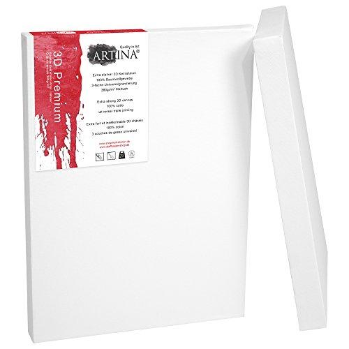 Artina Premium 3D - Set de 2 Piezas - 60x80 cm - Lienzos Blancos para Pintar - con Bastidor Extra Grueso - 380g/m²