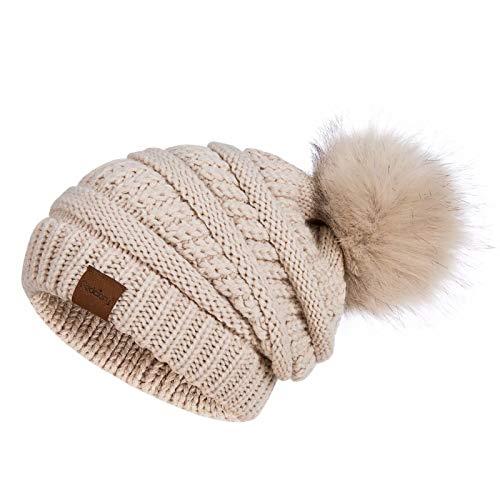 Womens Winter Slouchy Beanie Hat, Knit Warm Fleece Lined Thick Thermal Soft Ski Cap with Pom Pom (Oatmeal)