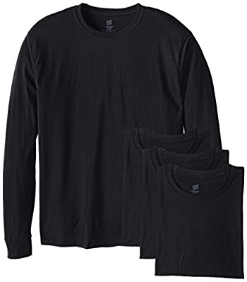 Hanes Men's 4 Pack Long Sleeve Comfortsoft T-Shirt, Black, Medium
