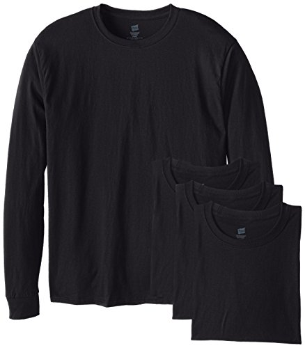 Hanes Men's 4 Pack Long Sleeve Comfortsoft T-Shirt, Black, X-Large
